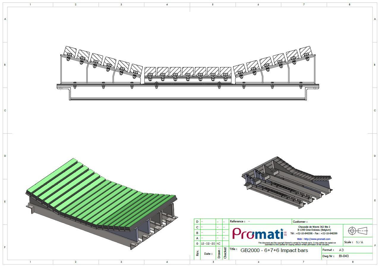 Prallbalkensonderkonstruktion für schwere Lasten. Technische Zeichnung.